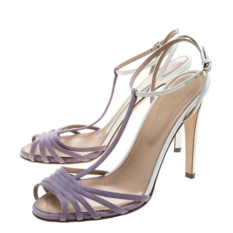 Women's Sergio Rossi Purple/White Suede and Leather T-Strap Sandals Size 38.5 For Sale
