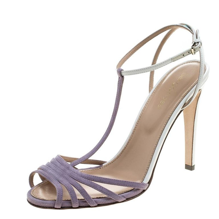 Sergio Rossi Purple/White Suede and Leather T-Strap Sandals Size 38.5 For Sale