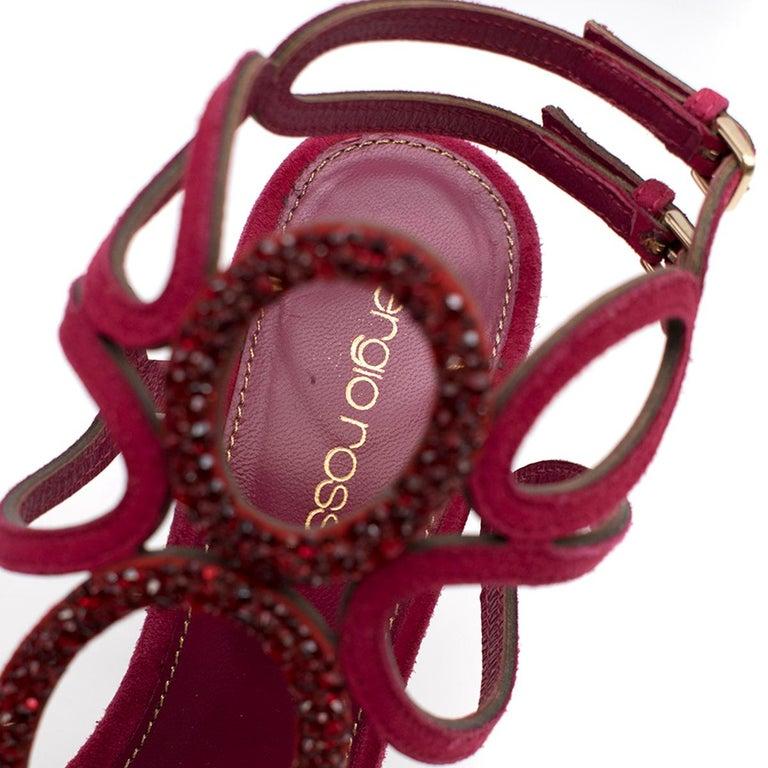 Sergio Rossi Raspberry Rhinestone-embellished Heeled Sandals SIZE 36.5 For Sale 1