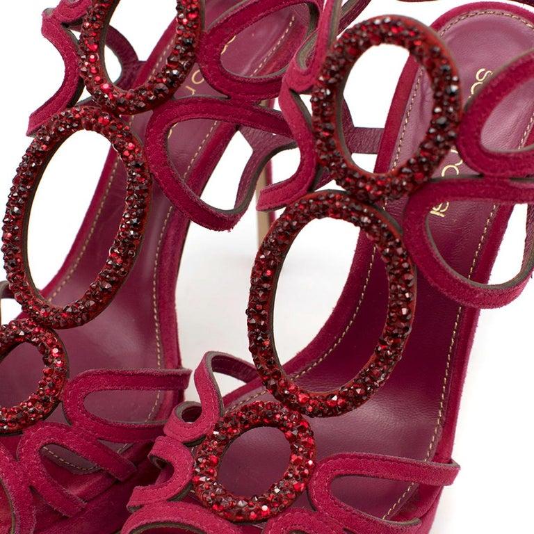 Sergio Rossi Raspberry Rhinestone-embellished Heeled Sandals SIZE 36.5 For Sale 2