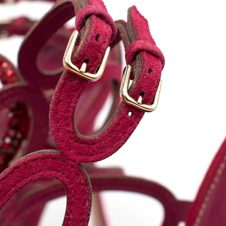 Sergio Rossi Raspberry Rhinestone-embellished Heeled Sandals SIZE 36.5 For Sale 3