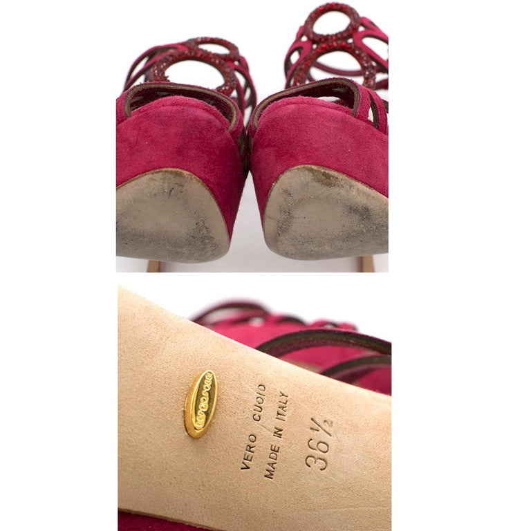 Sergio Rossi Raspberry Rhinestone-embellished Heeled Sandals SIZE 36.5 For Sale 4