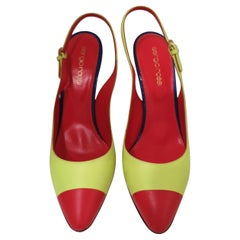 Sergio Rossi Red Blue Fluo Yellow Decollete