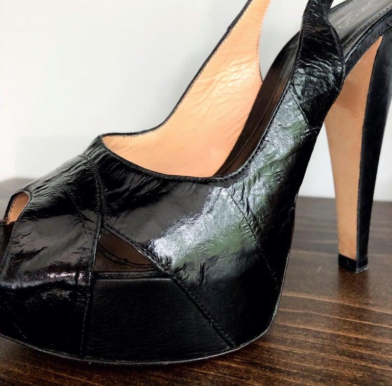Women's Sergio Rossi Size 36 / 6 Eel Skin Black Platform Peep Toe Sling Back High Heels For Sale