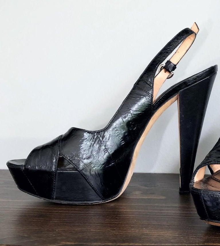 Sergio Rossi Size 36 / 6 Eel Skin Black Platform Peep Toe Sling Back High Heels For Sale 1