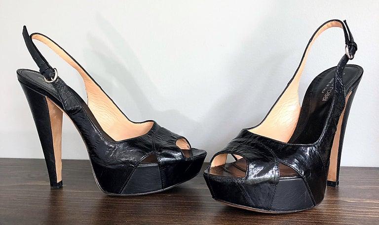 Sergio Rossi Size 36 / 6 Eel Skin Black Platform Peep Toe Sling Back High Heels For Sale 2