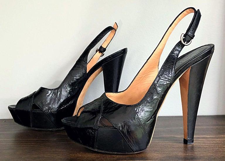 Sergio Rossi Size 36 / 6 Eel Skin Black Platform Peep Toe Sling Back High Heels For Sale 3