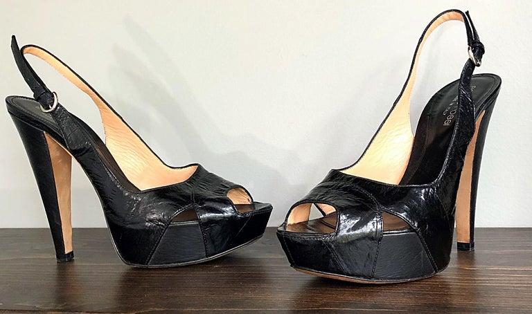 Sergio Rossi Size 36 / 6 Eel Skin Black Platform Peep Toe Sling Back High Heels For Sale 4