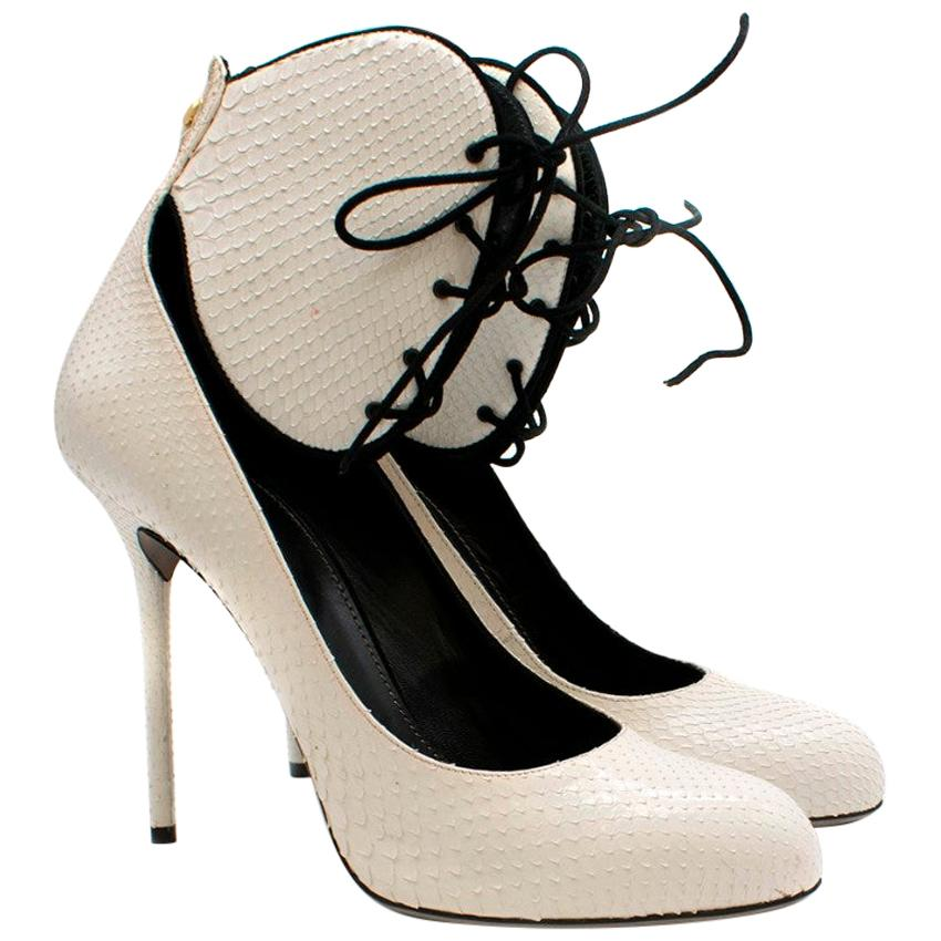 Sergio Rossi White Snakeskin Lace-Up Pumps - Size EU 41