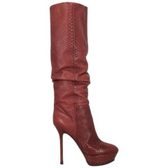 Sergio Rossi Woman Boots Burgundy Leather IT 39.5