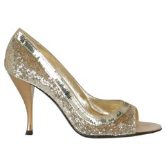 Sergio Rossi Women  Pumps Gold Leather IT 36.5