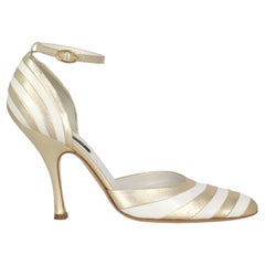 Sergio Rossi Women  Pumps Gold Leather IT 38.5