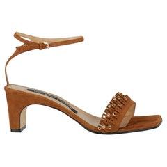 Sergio Rossi  Women Sandals  Brown Leather EU 38.5