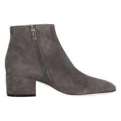 Sergio Rossi Women's Ankle Boots Grey Leather Size IT 37