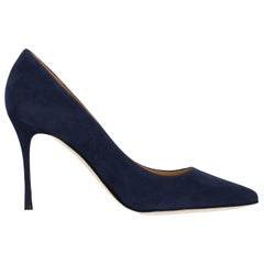 Sergio Rossi Women's Pumps Navy Leather Size IT 36