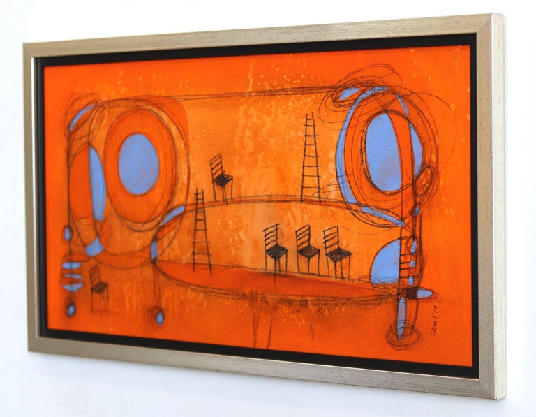 Happy Landscape 3 - Orange Abstract Painting by Sergio Valenzuela