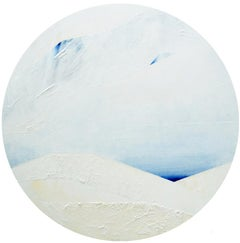 Lake- Snow -- Abstract landscape, Contemporary Painting, Acrylics, Tondo