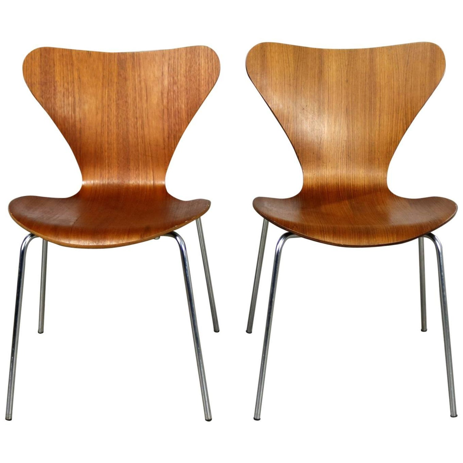 Sedie Serie 7 Fritz Hansen.Series 7 Chairs By Arne Jacobsen For Fritz Hansen Vintage Mcm Molded