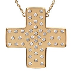 Series 'Les Lumineuses' Love, Diamond Yellow Gold Cross Pendant Necklace