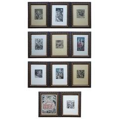 Series of 11 Jay Bolton 1995 Outsider Art Woodcut Exhibit Art Prints