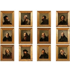 Series of 12 Antique Painted Portraits of Historic Figures