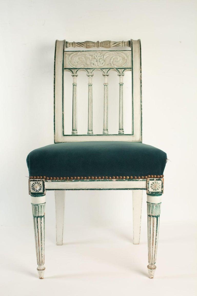 Set of 6 chairs Directoire period, 19th century. Measures: H 87cm, W 45cm, W 58cm.