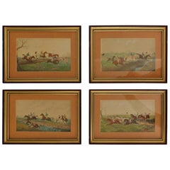 Series of Four Original Watercolor English Steeple Chase Horse Jumping Paintings