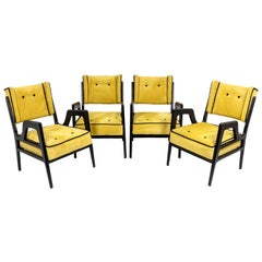 Series of Four Wing Chairs in Lacquered Wood, 1950s