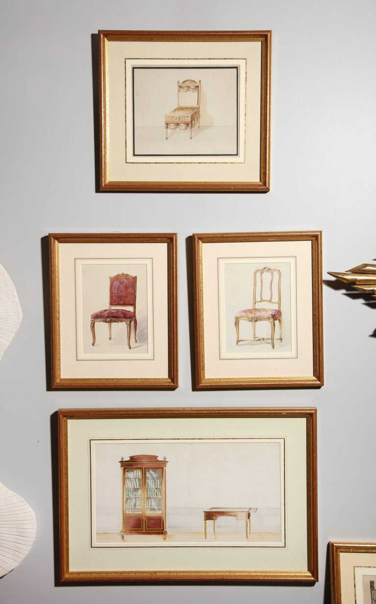 Series of Hand-Painted Drawings of Furniture For Sale 5