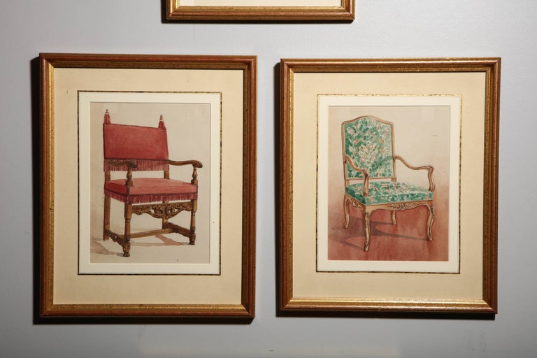 European Series of Hand-Painted Drawings of Furniture For Sale