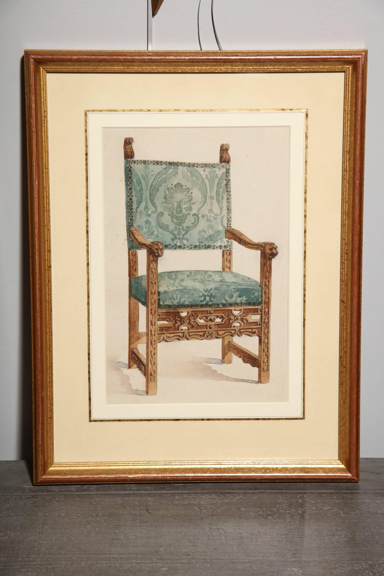 Series of Hand-Painted Drawings of Furniture For Sale 1