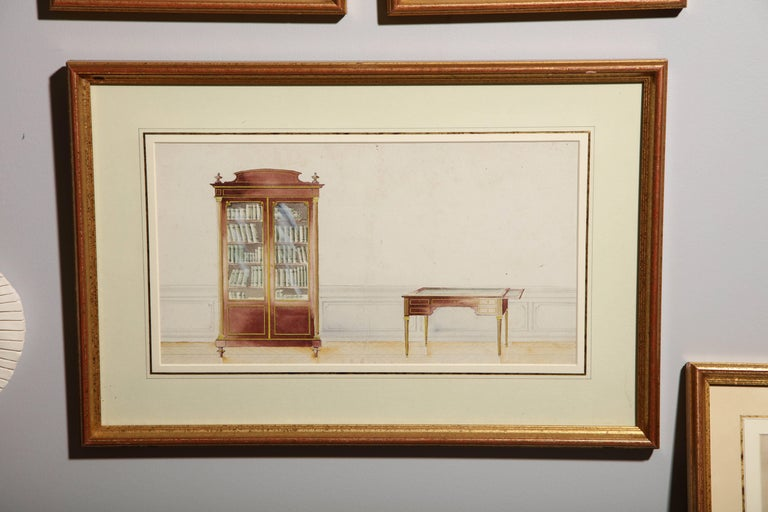 Series of Hand-Painted Drawings of Furniture For Sale 2