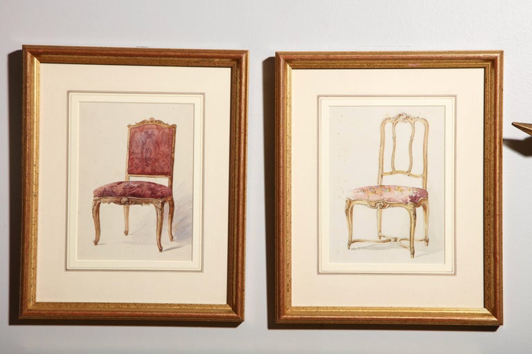 Series of Hand-Painted Drawings of Furniture For Sale 3