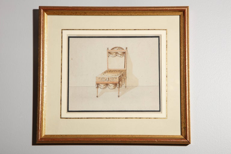 Series of Hand-Painted Drawings of Furniture For Sale 4