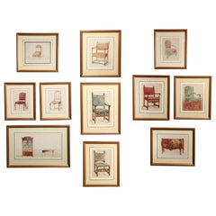 Series of Hand-Painted Drawings of Furniture