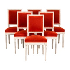 Series of Six Louis XVI Style Chairs in Lacquered Wood, 1950's
