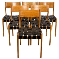 Series of Six Scandinavian Chairs in Teak and Leather, 1960s