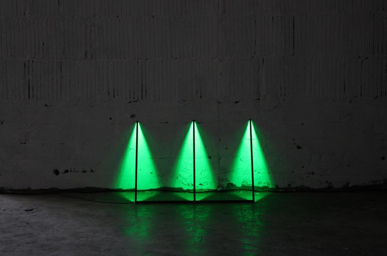 Composed of powder-coated aluminum and LED's, Series is designed to lean against a wall using the surface as its reflector; this generates different light qualities depending on the reference material. Various lighting conditions can also be