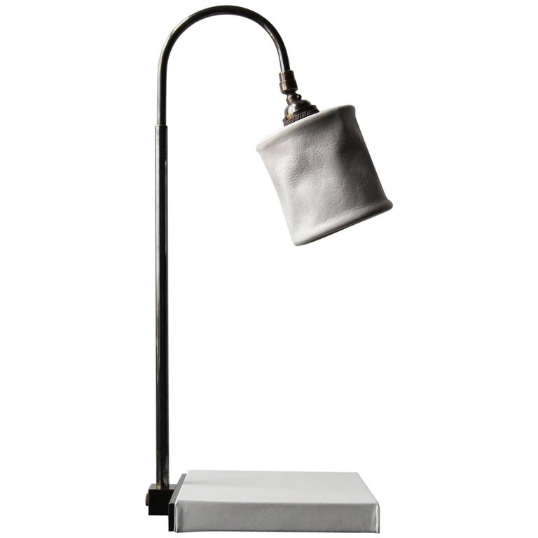 Series01 Desk Lamp, Hand-Dyed Ash 'Gray' Leather, Dark Patinated Brass For Sale