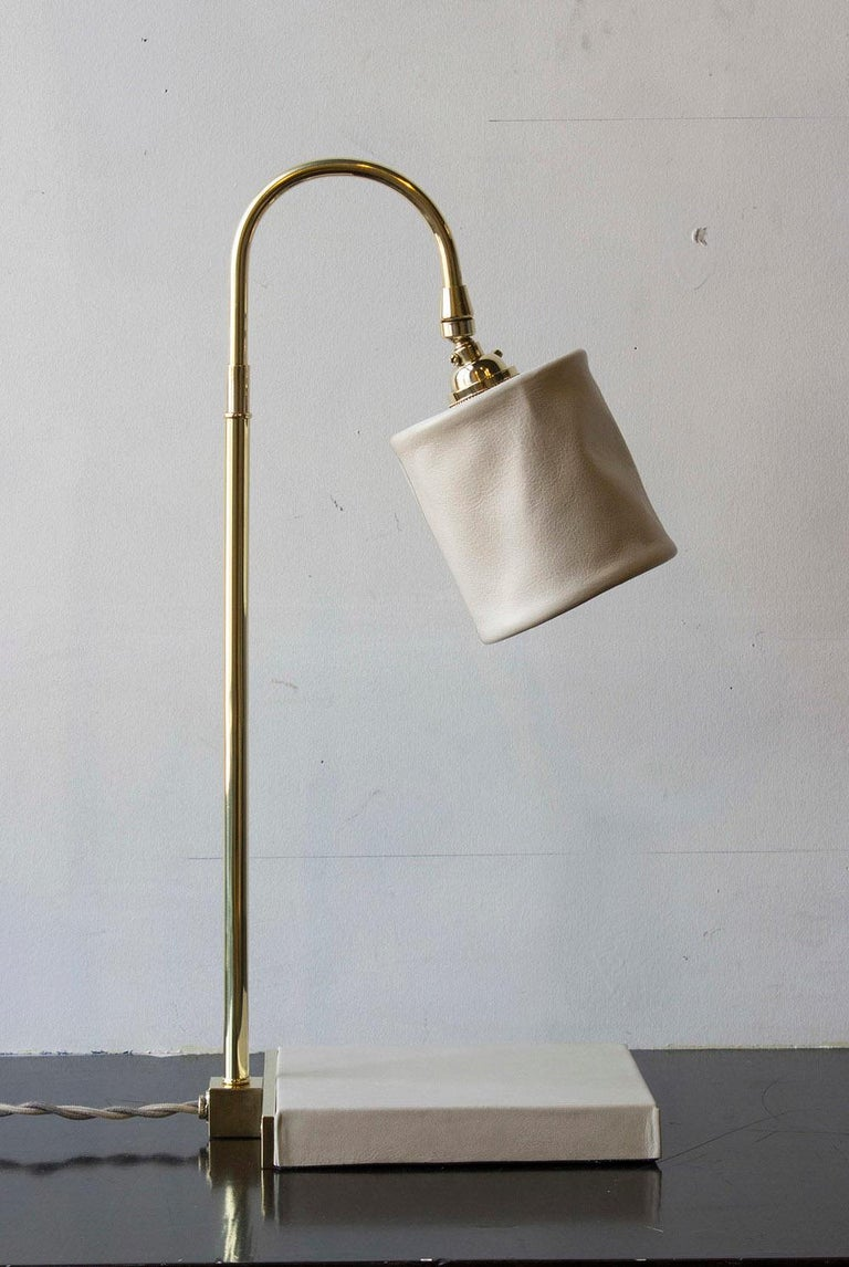 Series01 Desk Lamp, Hand-Dyed Blush 'Pink' Leather, Polished Nickel-Plated Brass For Sale 6