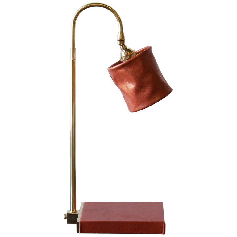 Series01 Desk Lamp, Hand-Dyed Gochujang Red Leather, Polished Unlacquered Brass For Sale