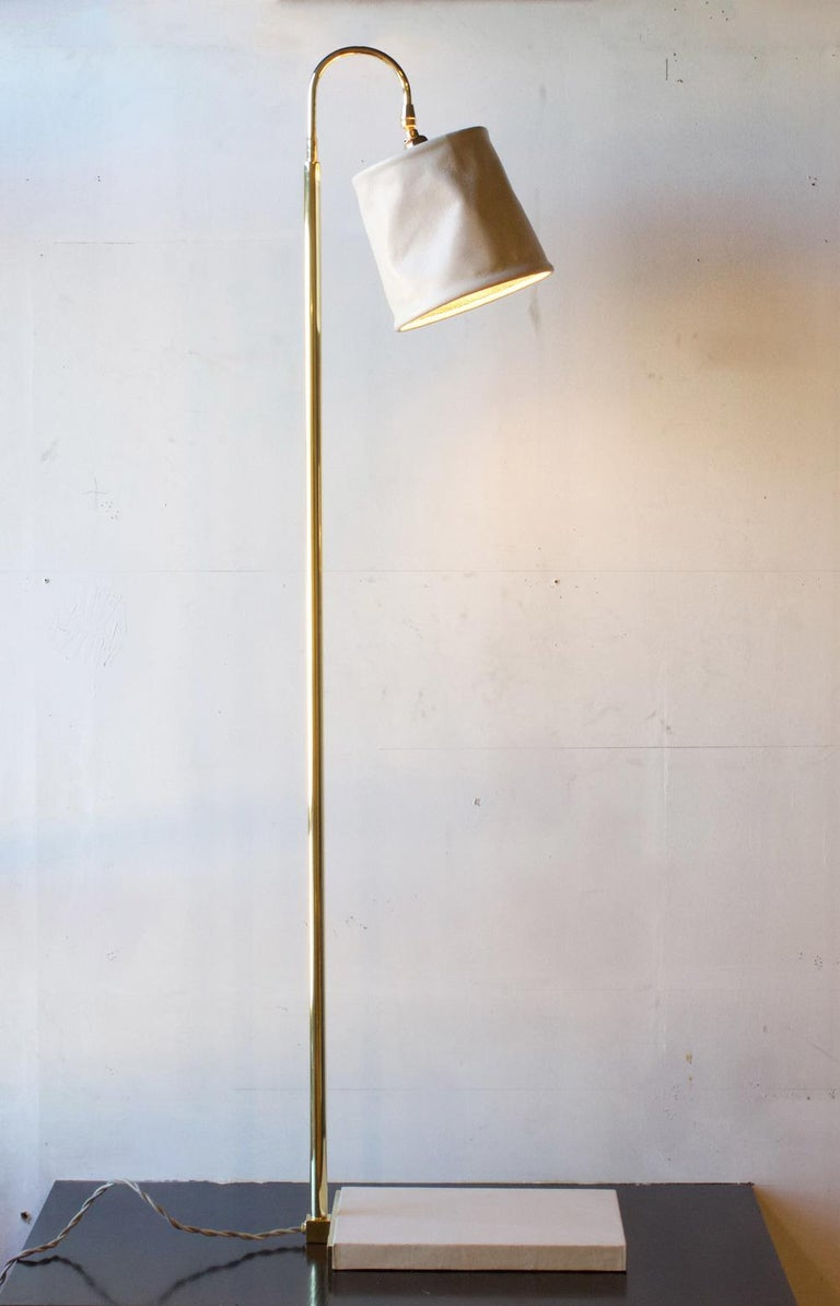 Contemporary Series01 Floor Lamp, Hand-Dyed Ash 'Gray' Leather, Polished Nickel-Plated Brass For Sale