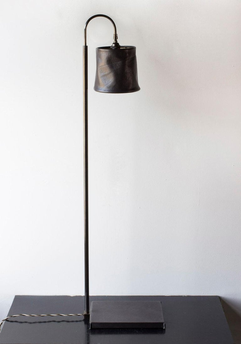 Series01 Floor Lamp, Hand-Dyed Ash 'Gray' Leather, Polished Nickel-Plated Brass For Sale 1