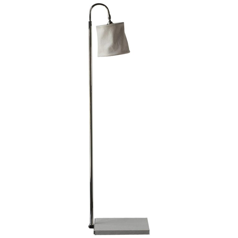 Series01 Floor Lamp, Hand-Dyed Ash 'Gray' Leather, Polished Nickel-Plated Brass For Sale
