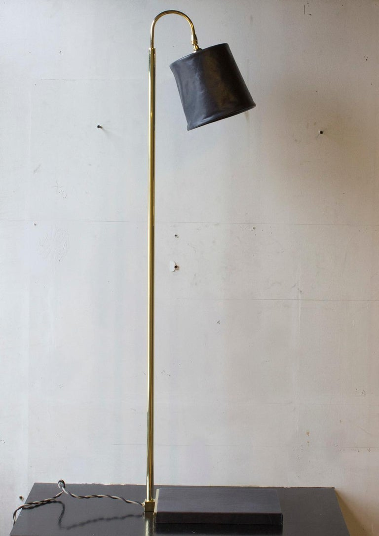 Contemporary SERIES01 Floor Lamp, Hand-Dyed Ash 'Gray' Leather, Polished Unlacquered Brass For Sale
