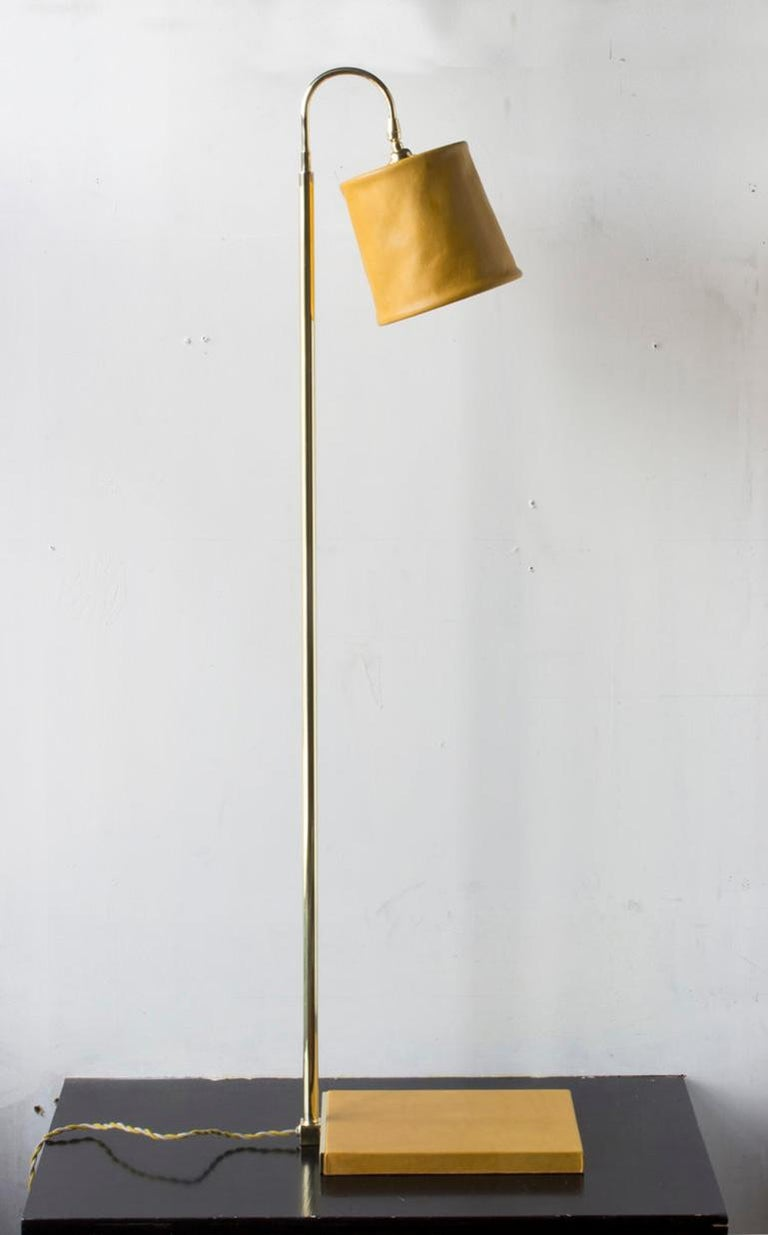 SERIES01 Floor Lamp, Hand-Dyed Ash 'Gray' Leather, Polished Unlacquered Brass For Sale 1