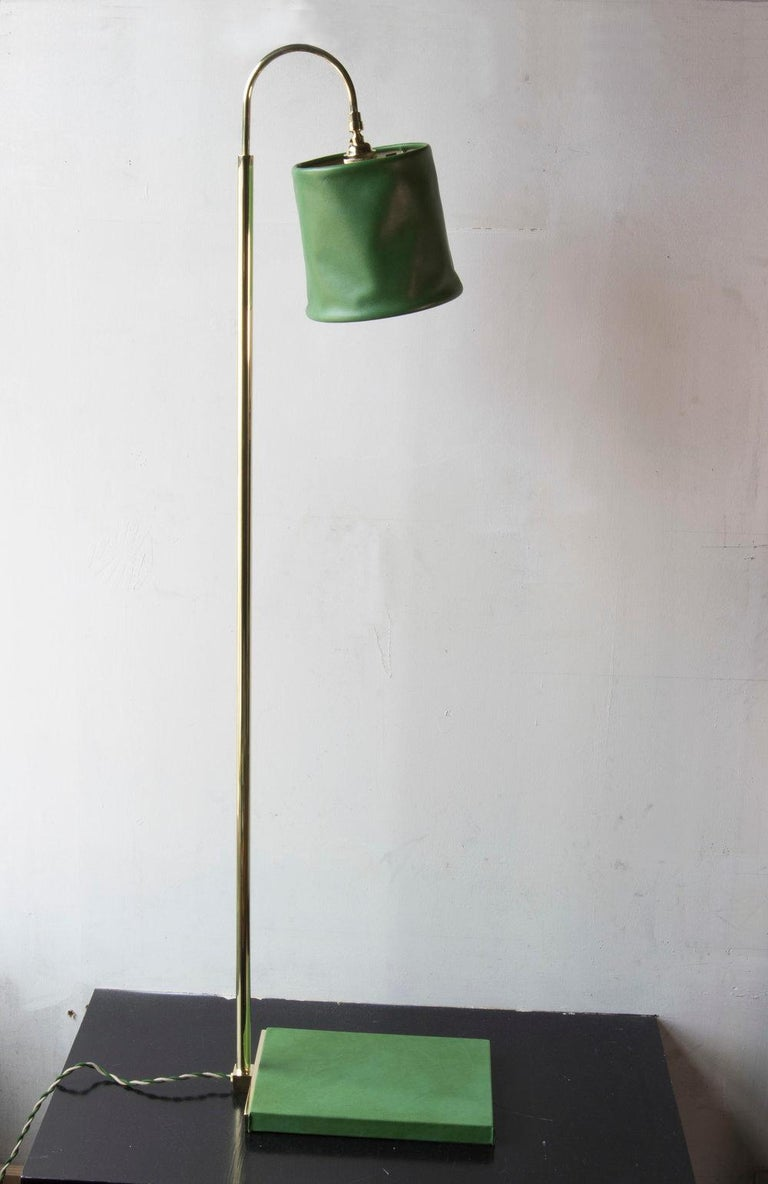 SERIES01 Floor Lamp, Hand-Dyed Ash 'Gray' Leather, Polished Unlacquered Brass For Sale 3