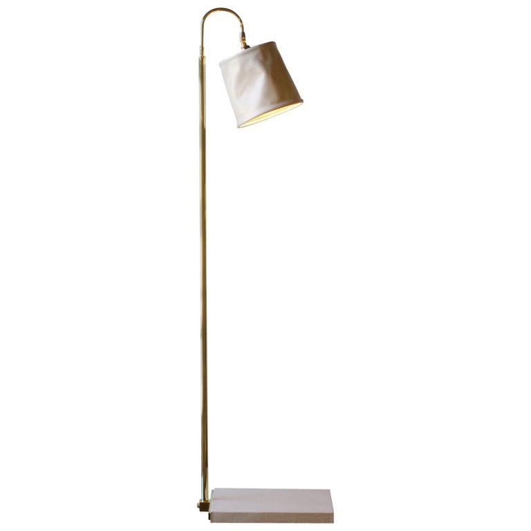 SERIES01 Floor Lamp, Hand-Dyed Ash 'Gray' Leather, Polished Unlacquered Brass For Sale
