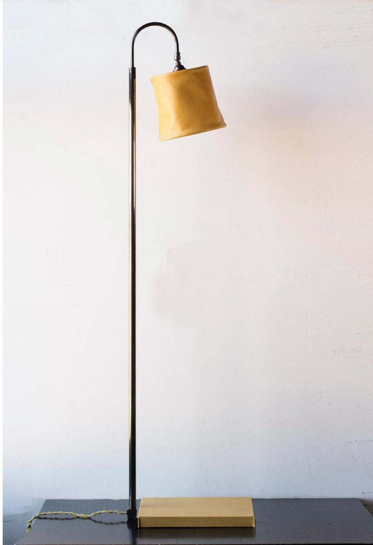 Series01 Floor Lamp, Hand-Dyed Sable, Brown Leather, Dark Patinated Brass In New Condition For Sale In Brooklyn, NY