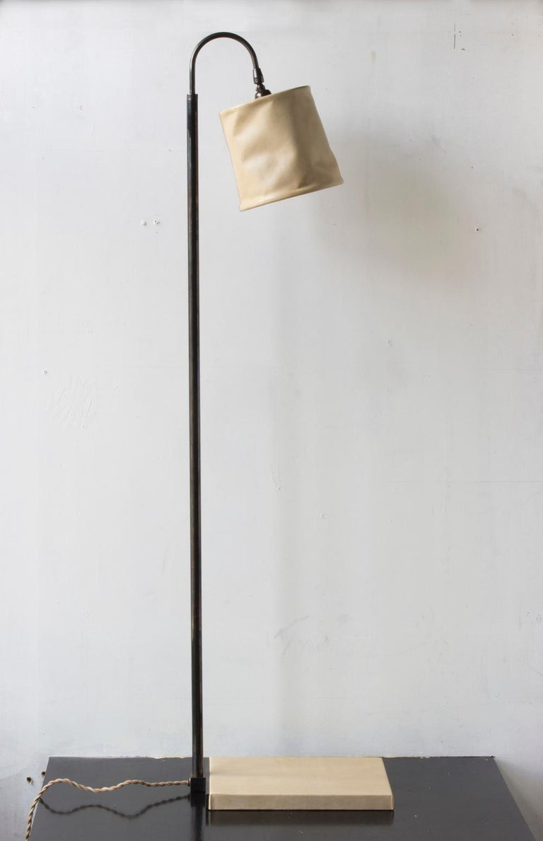 Contemporary Series01 Floor Lamp, Hand-Dyed Sable, Brown Leather, Dark Patinated Brass For Sale